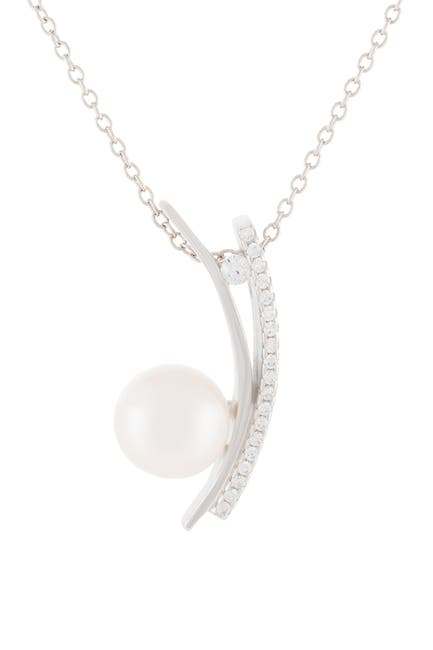 Image of Splendid Pearls Pave CZ & 8-8.5mm Cultured Freshwater Pearl Dangling Pendant Necklace