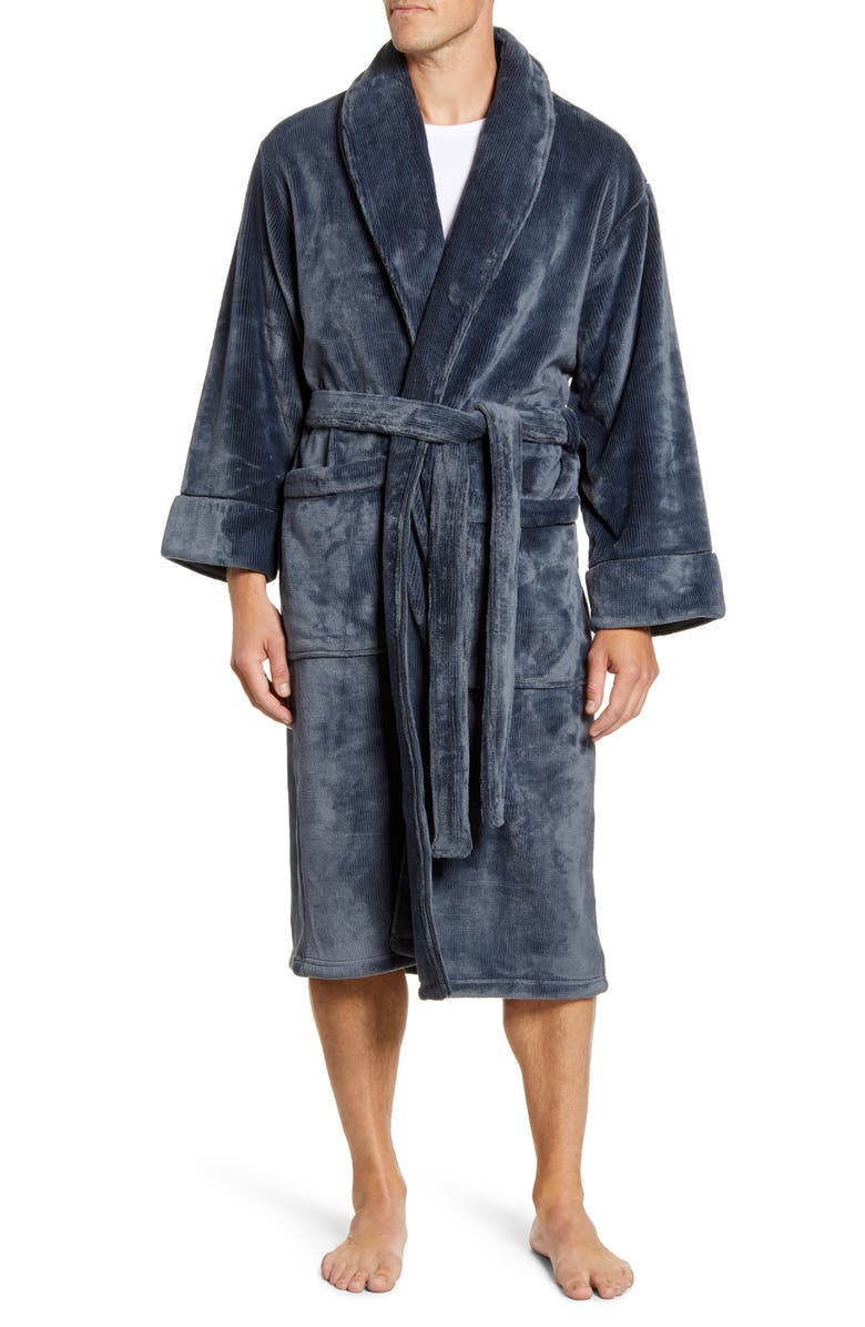 DANIEL BUCHLER Pinstripe Fleece Robe, Main, color, BLACK