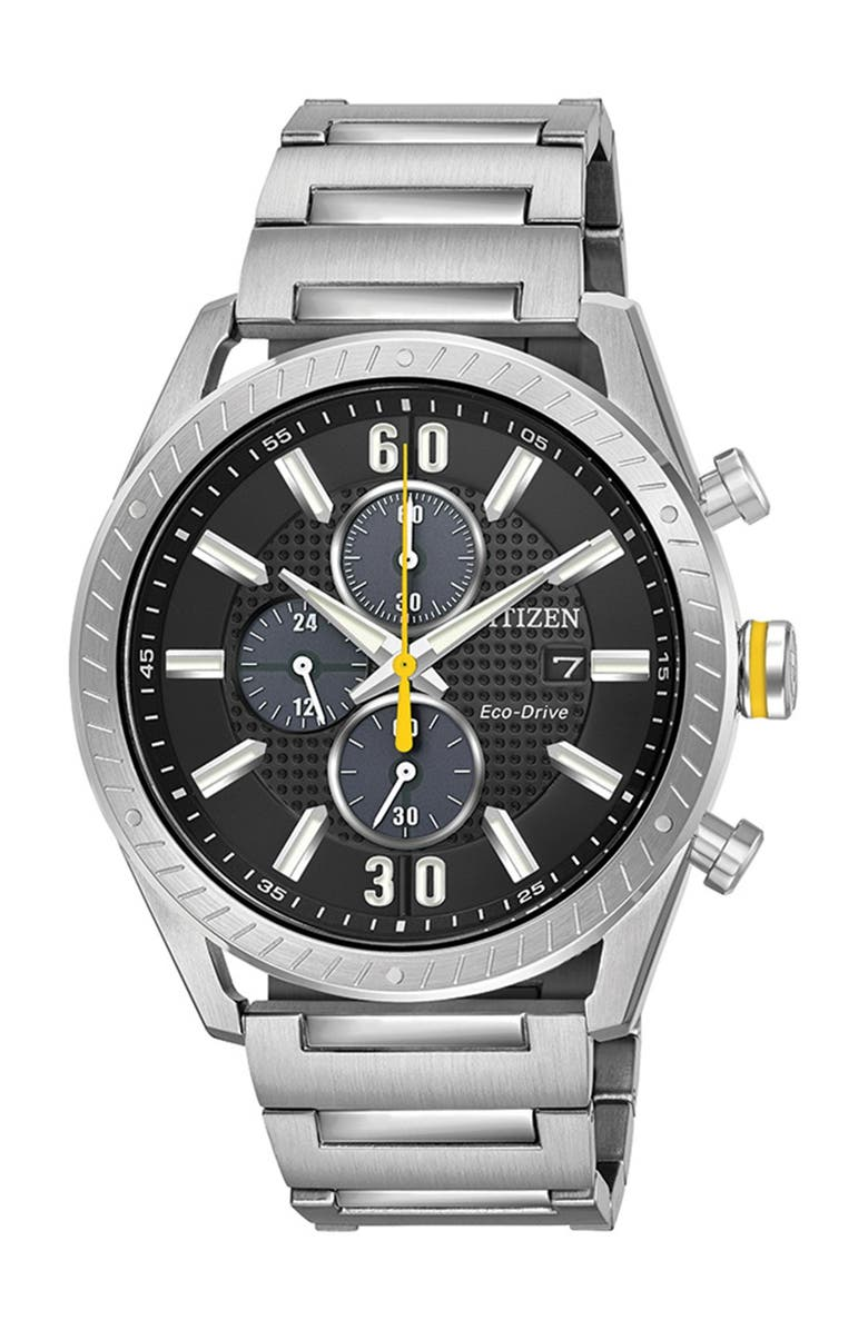 CITIZEN Men's Standard Stainless Steel Eco-Drive Watch, 43mm, Main, color, SILVER