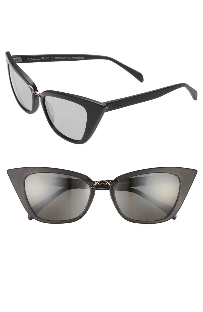 OSCAR DE LA RENTA X MORGENTHAL FREDERICS Twist 55mm Gradient Cat Eye Sunglasses, Main, color, BLACK MATTE