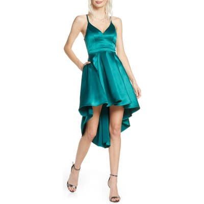 Sequin Hearts High/low Satin Party Dress, Green