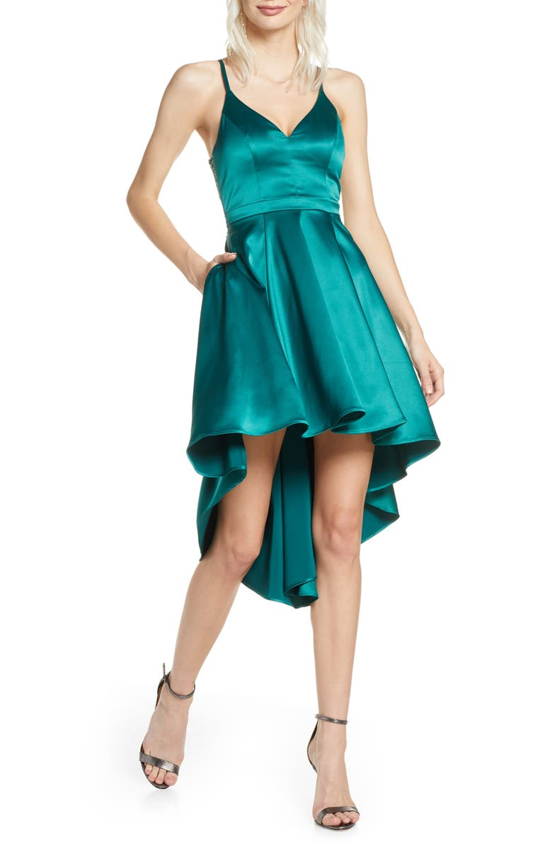 SEQUIN HEARTS High/Low Satin Party Dress, Main, color, EMERALD