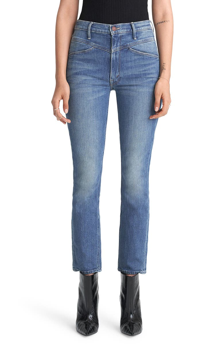 MOTHER The Dazzler High Waist Yoke Front Ankle Jeans, Main, color, WANDER DUST
