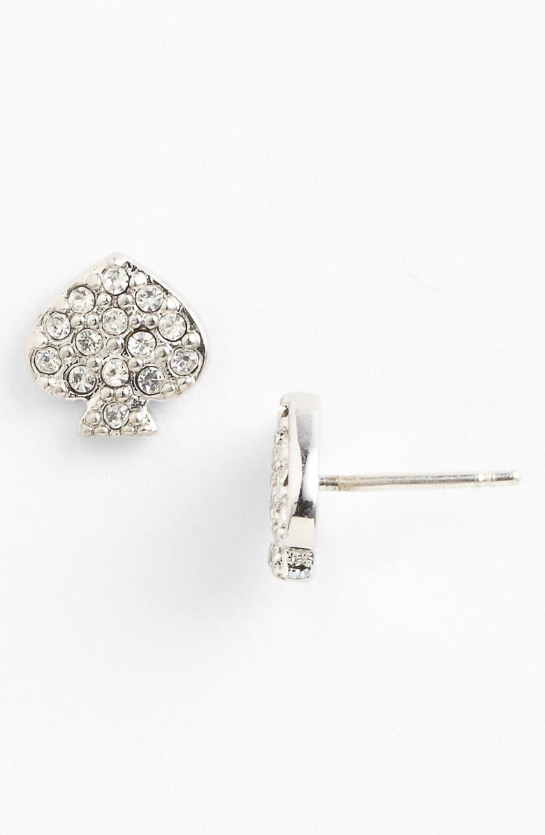KATE SPADE NEW YORK crystal spade earrings, Main, color, 040