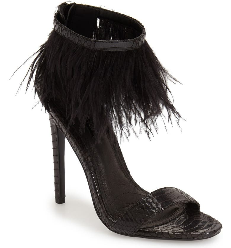 TOPSHOP 'Ravenous' Feather Sandal, Main, color, 001
