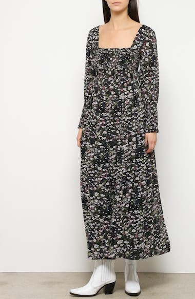 Floral Print Long Sleeve Georgette Maxi Dress, video thumbnail