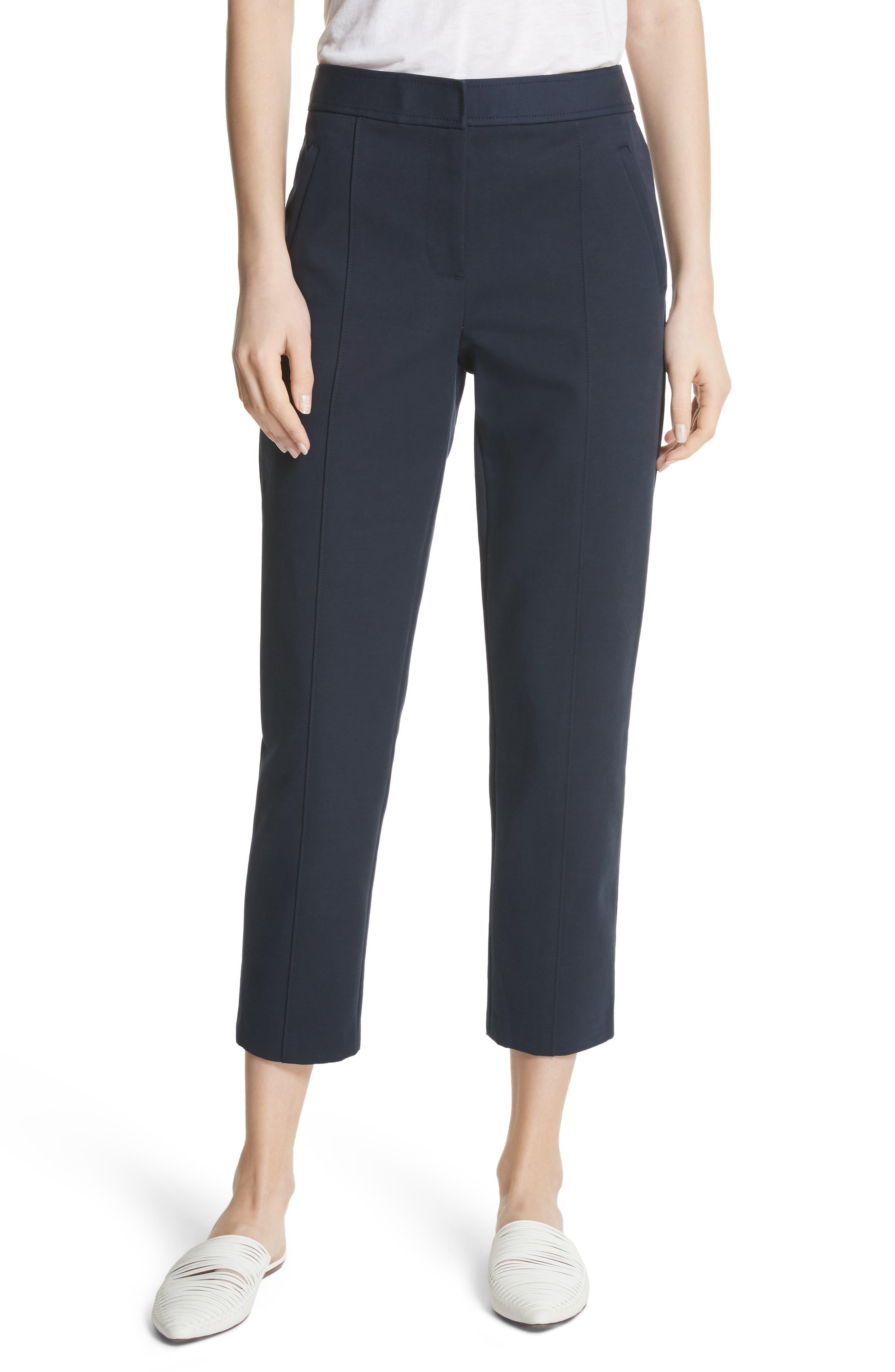 Women's Tory Burch Vanner Slim Leg Ankle Pants,  0 - Blue