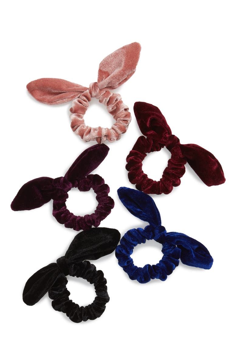 BP. 5-Pack Velvet Bow Scrunchies, Main, color, MULTI COMBO