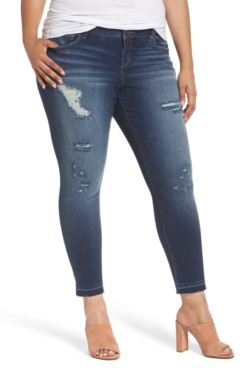 c5b32f51fbedd5 SLINK Jeans Distressed Ankle Jeggings (Molly) (Plus Size) | Nordstrom