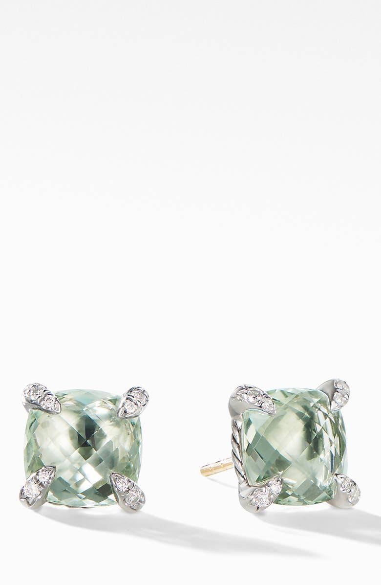 DAVID YURMAN Chatelaine<sup>®</sup> Prasiolite Stud Earrings with Diamonds, Main, color, NEW PRASIOLITE