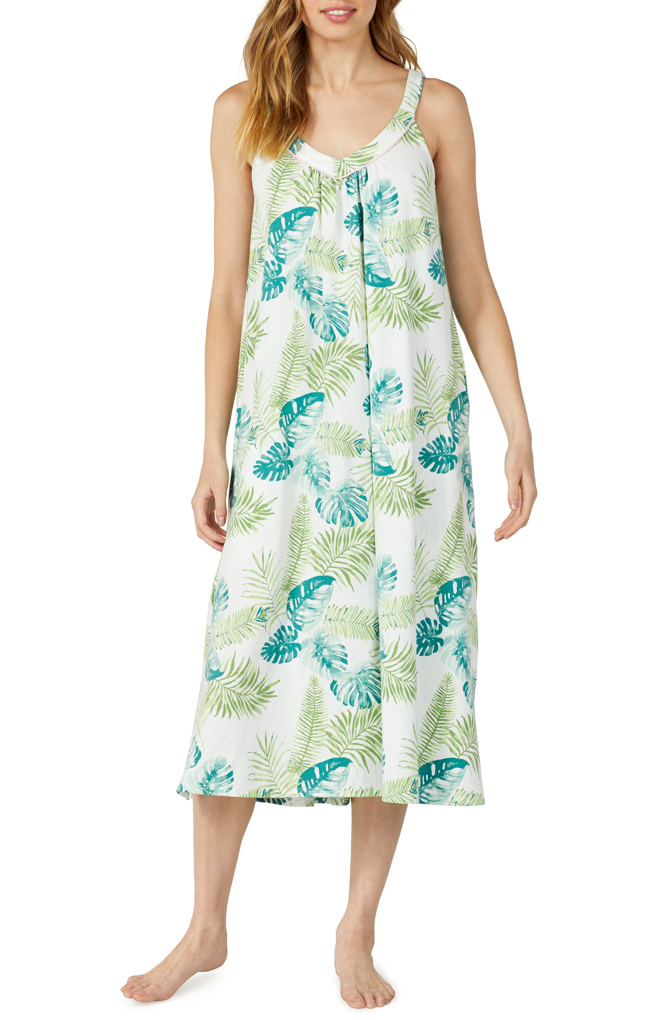 Bedhead V-Neck Stretch Cotton Nightgown, Green