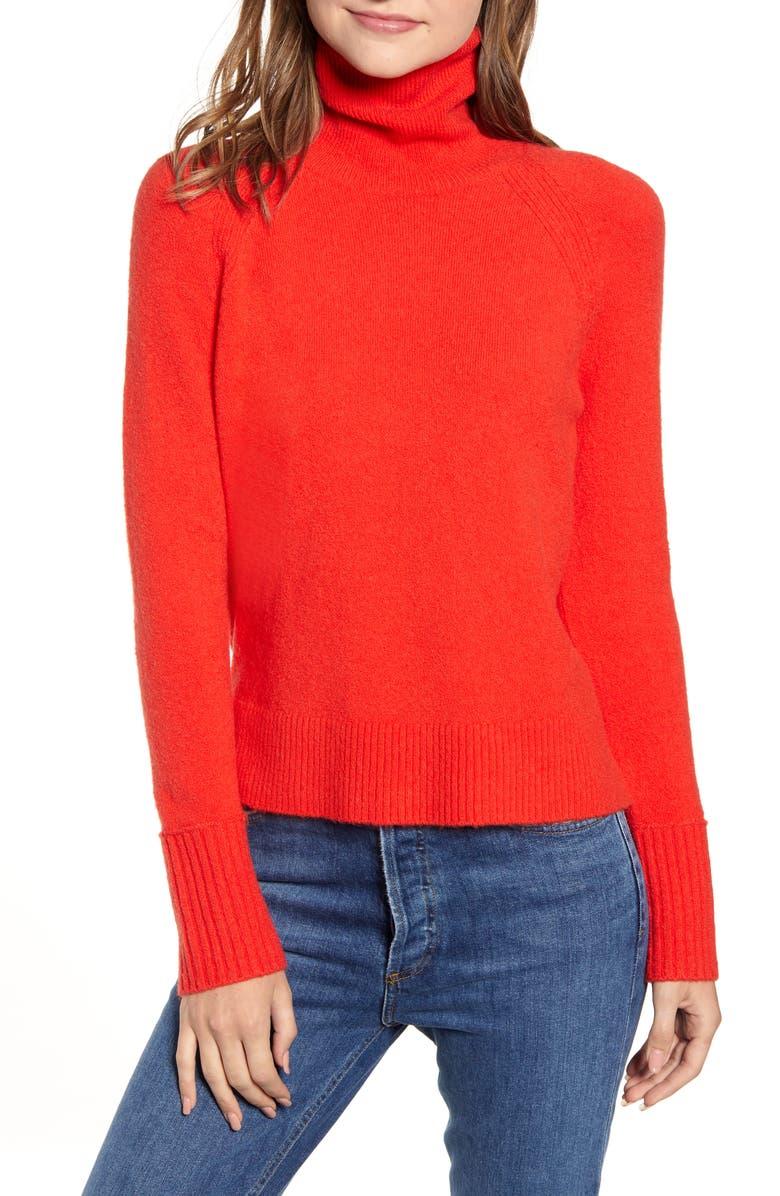 J.CREW Side Slit Supersoft Turtleneck Sweater, Main, color, BRIGHT CERISE