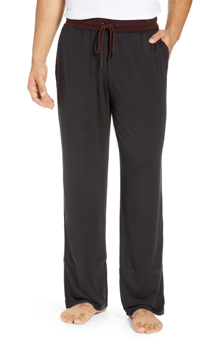 DANIEL BUCHLER Modal Blend Pajama Pants, Main, color, BLACK