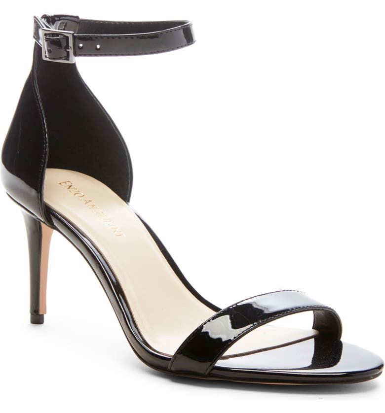 ENZO ANGIOLINI Ahmber Ankle Strap Sandal, Main, color, BLACK FAUX LEATHER