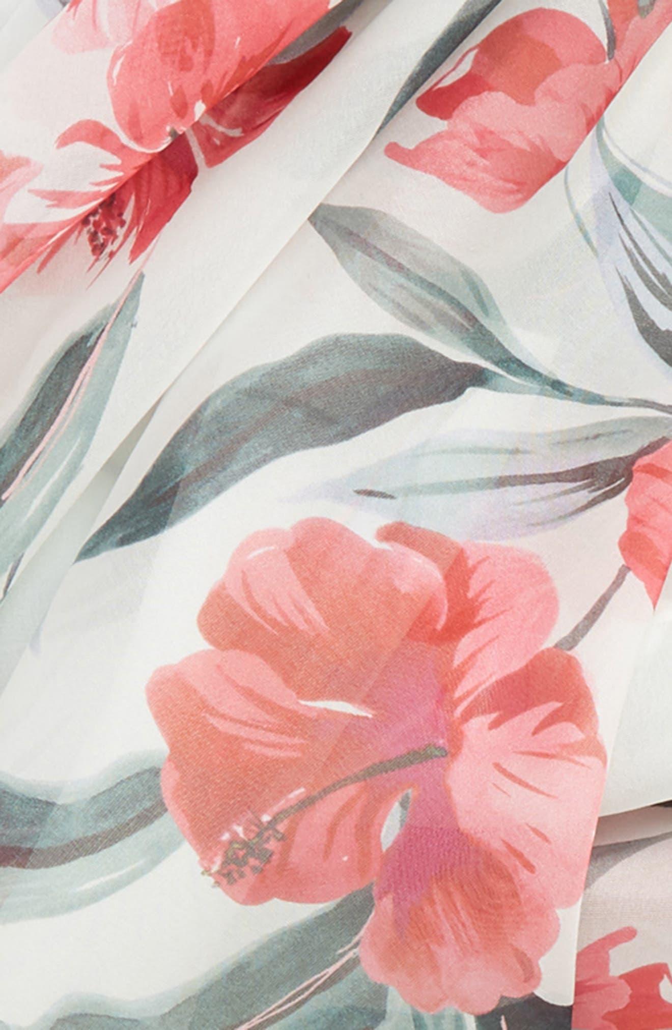 ,                             Dimma Floral Print Silk Scarf,                             Alternate thumbnail 4, color,                             POWDER
