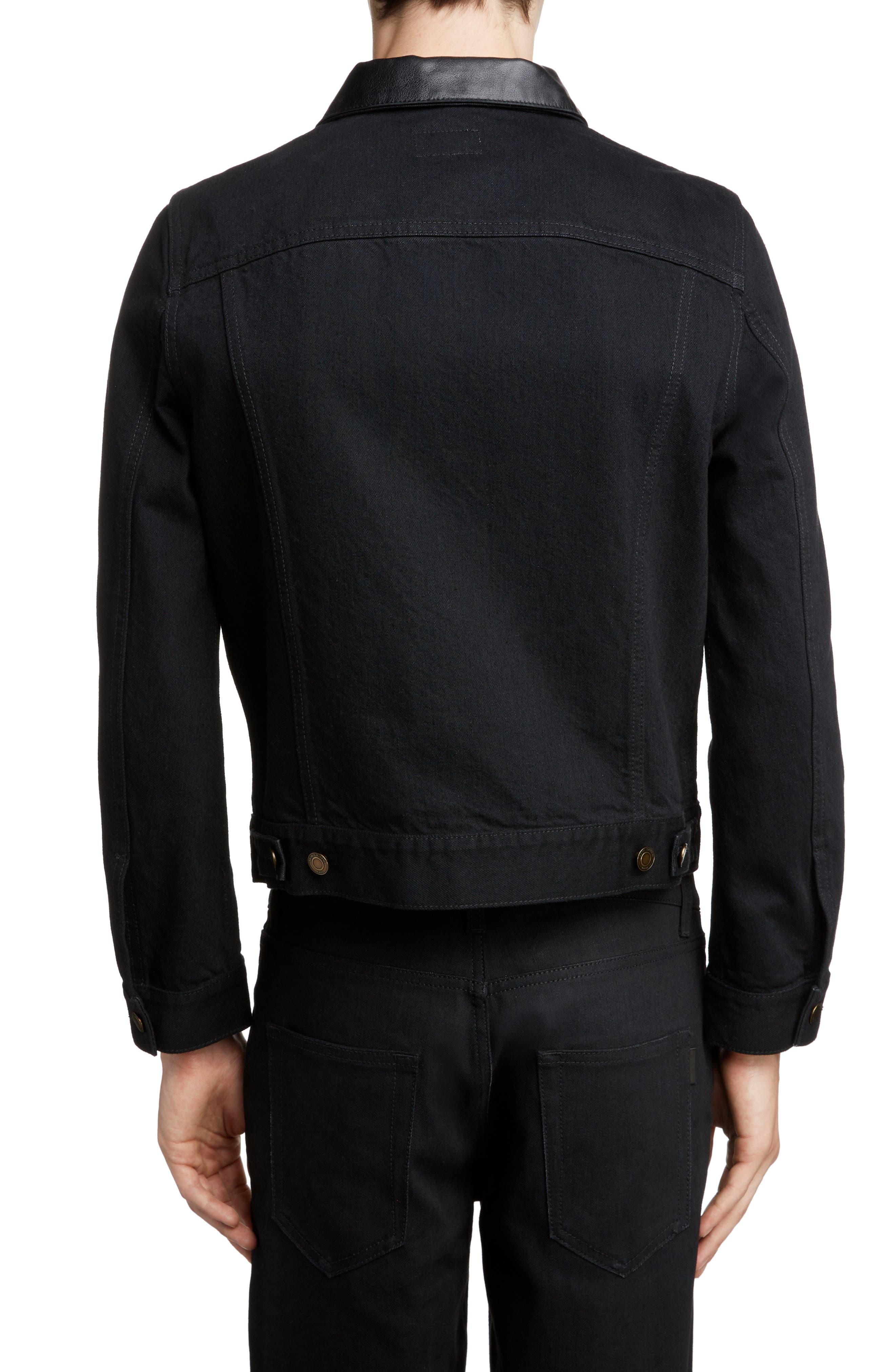 ,                             Fitted Denim Jacket,                             Alternate thumbnail 2, color,                             WORN BLACK