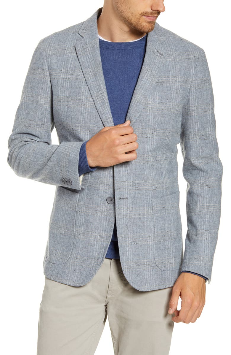 1901 Extra Trim Fit Plaid Wool Blend Sport Coat, Main, color, GREY MICRO TONAL PLAID