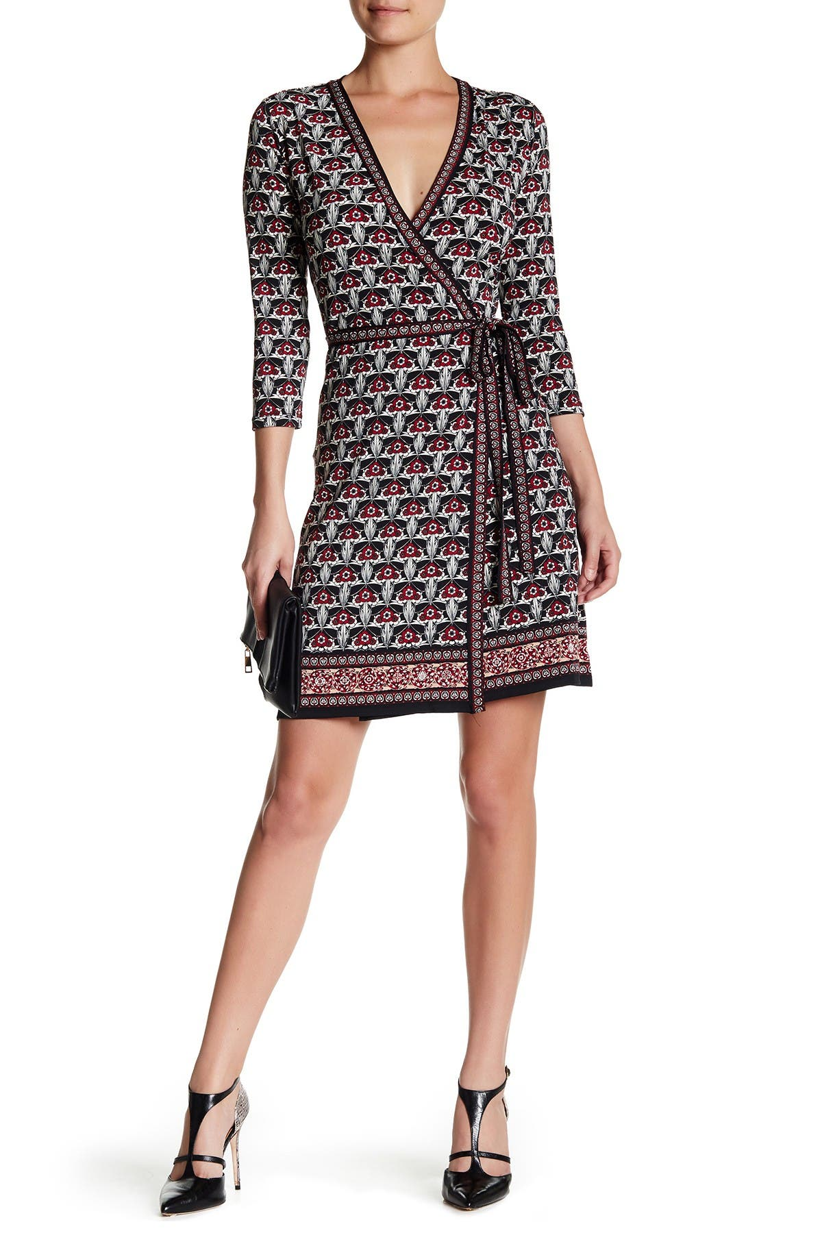 Image of Max Studio Mixed Print Wrap Dress