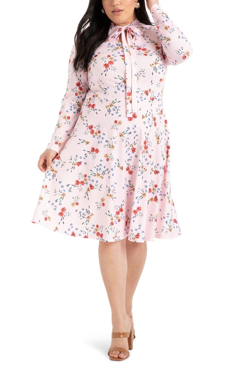 ELOQUII Floral Long Sleeve Fit & Flare Dress, Main, color, ROSE RAIN PINK