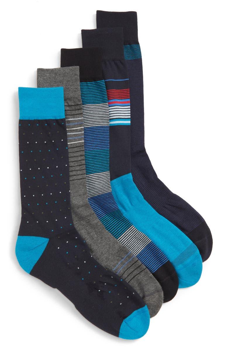 NORDSTROM MEN'S SHOP Stripe & Points Assorted 5-Pack Socks, Main, color, 410