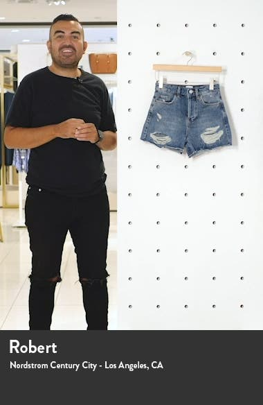 Pax Ripped High Waist Denim Shorts, sales video thumbnail