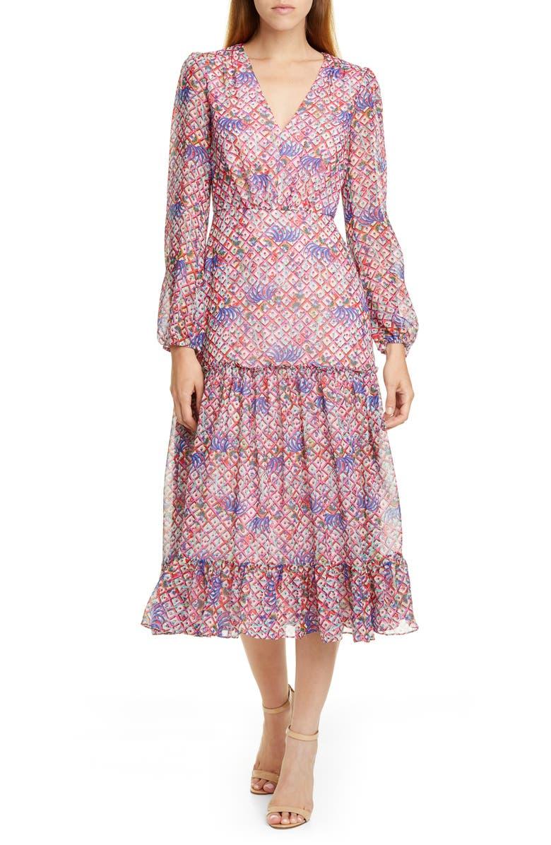 SALONI Polka Dot Ruffle Dress, Main, color, IRIS LATTICE