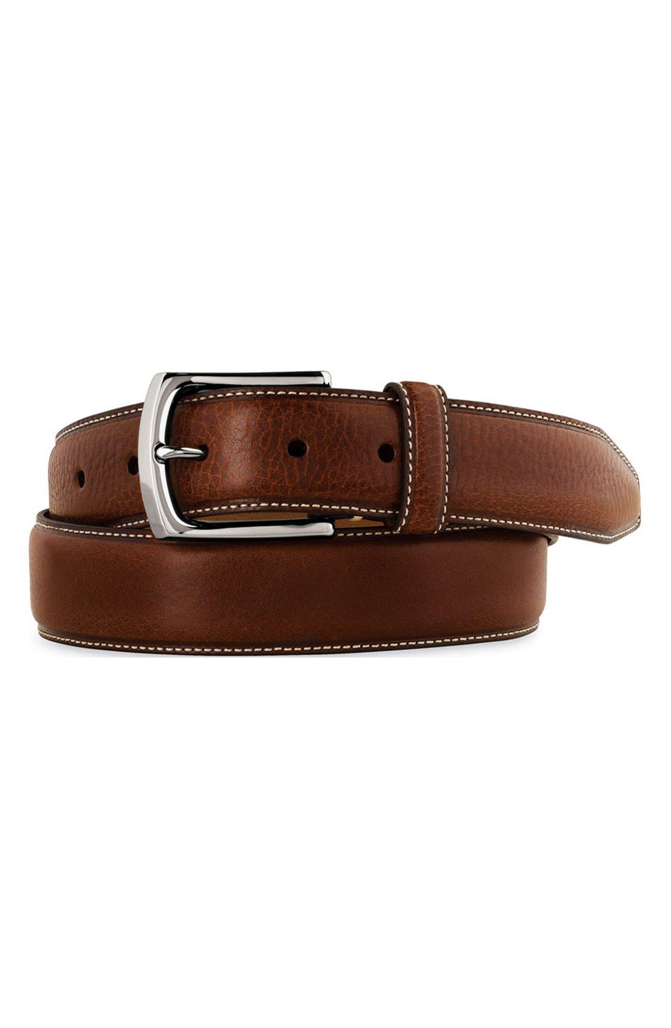 Johnston & Murphy Calfskin Leather Belt, Dark Brown