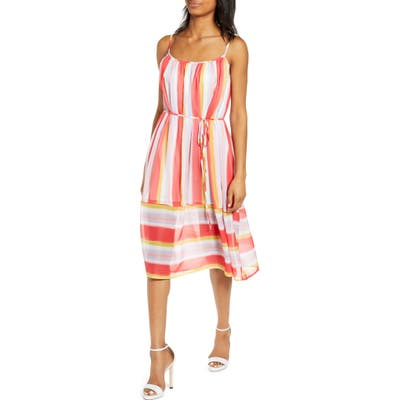 Endless Rose Stripe Fit & Flare Dress, Red