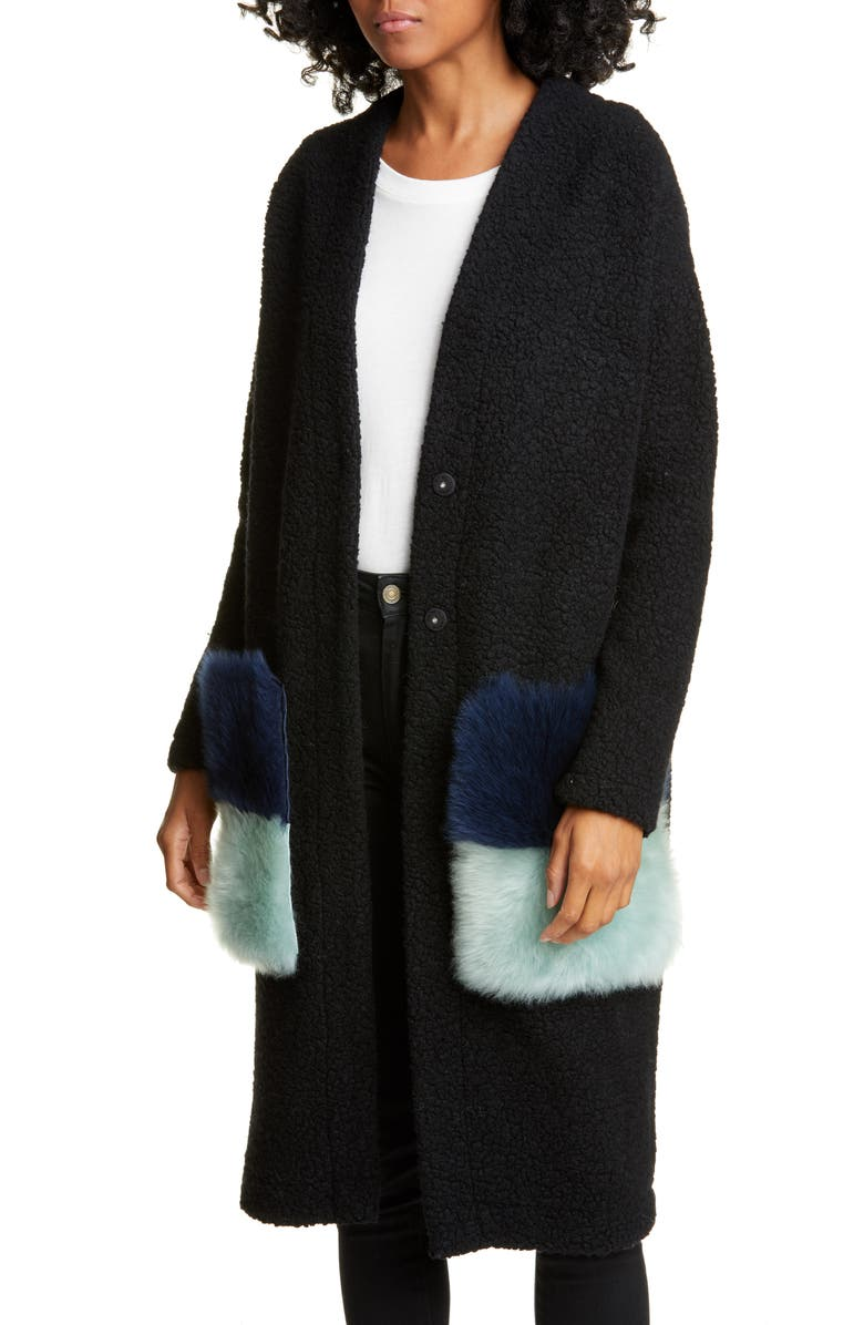 ANNE VEST Brisbane Wool Blend Cardigan with Genuine Shearling Pockets, Main, color, 001