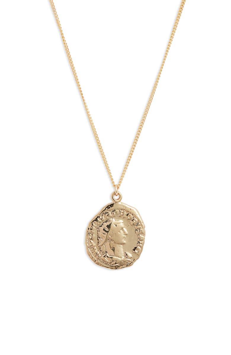 SET & STONES Celine Coin Necklace, Main, color, GOLD