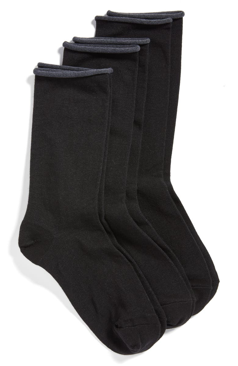 HUE Jeans 3-Pack Crew Socks, Main, color, BLACK