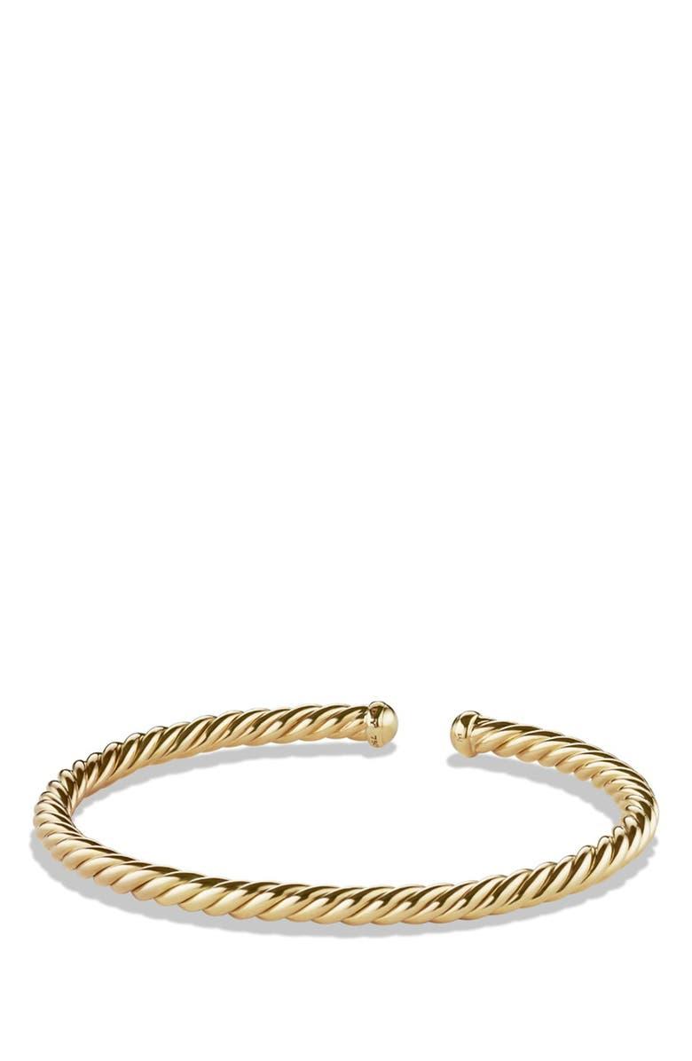 DAVID YURMAN Cable Spira Bracelet in 18K Gold, Main, color, GOLD