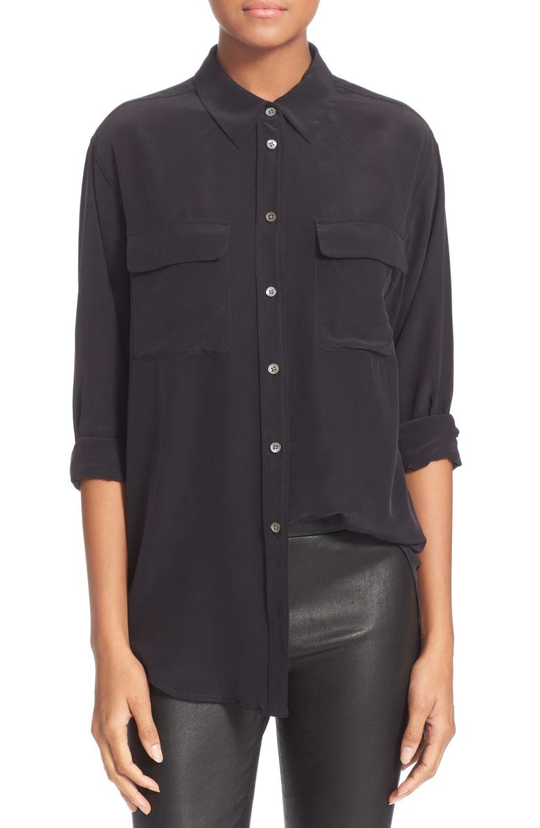 EQUIPMENT 'Signature' Silk Shirt, Main, color, TRUE BLACK
