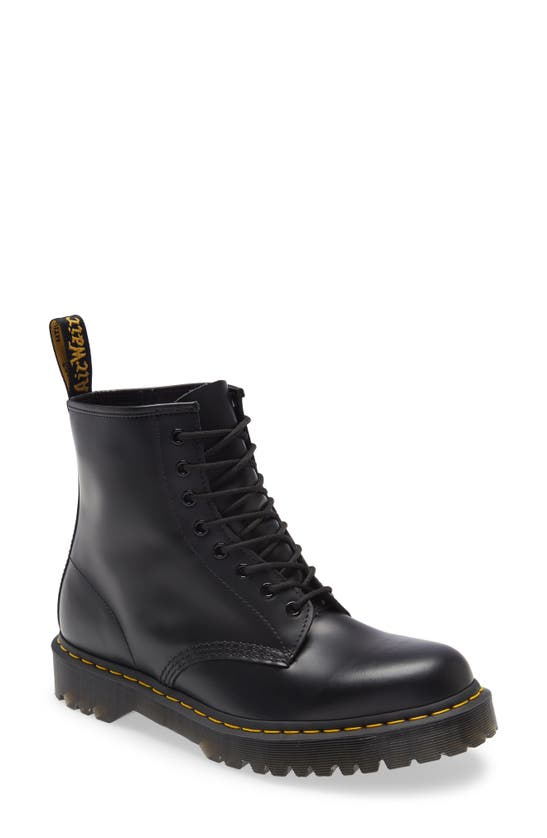 Dr. Martens Black Leather Ankle Boots In Black Smooth Leather