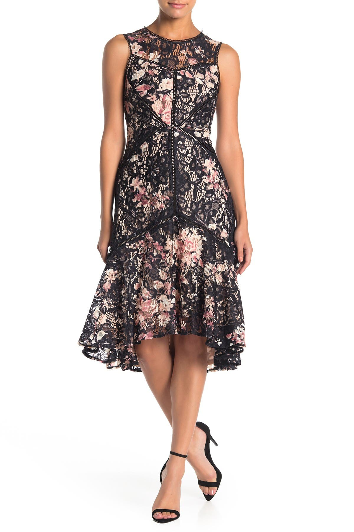 Image of Taylor Floral Print Stretch Lace High/Low Dress