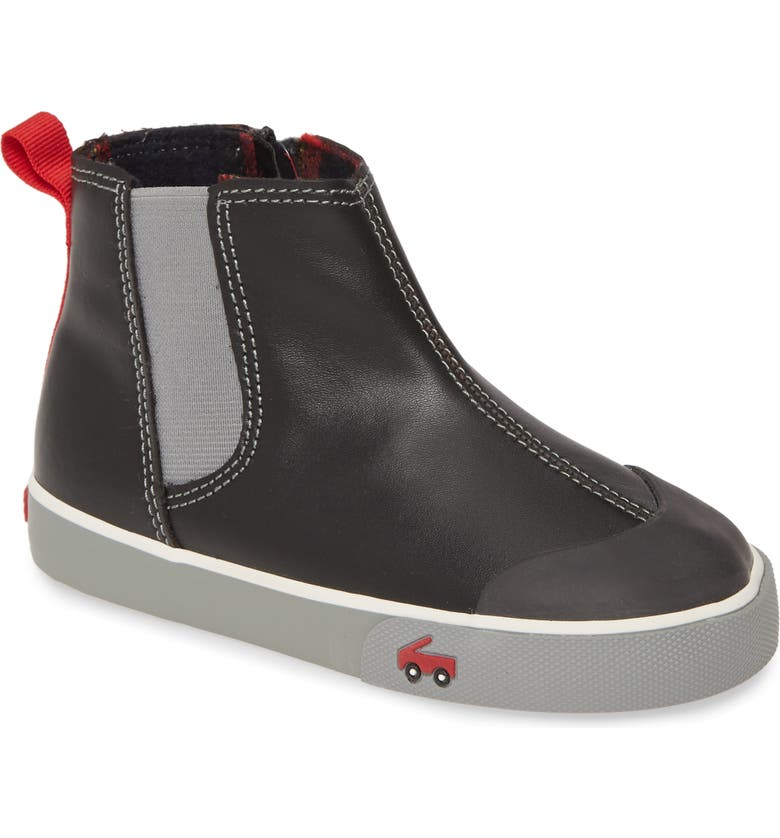 SEE KAI RUN Kirby Chelsea Boot, Main, color, BLACK LEATHER