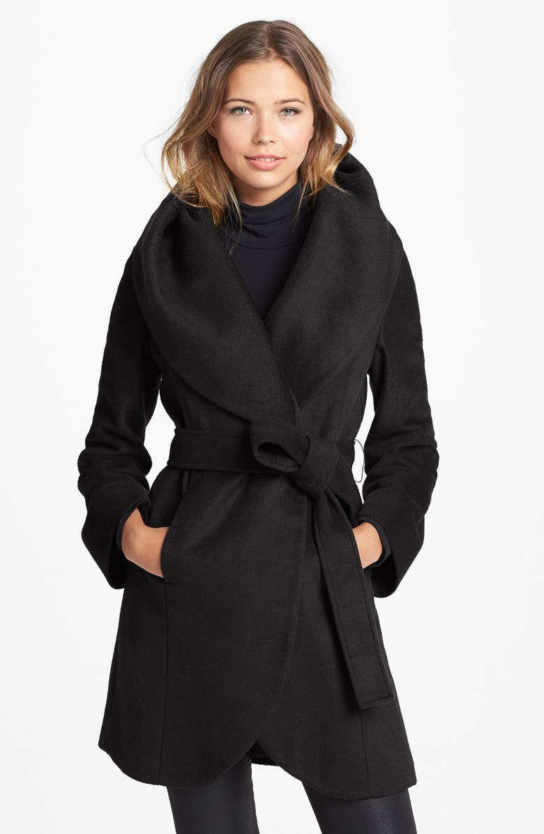 T TAHARI Tahari 'Marla' Cutaway Wrap Coat with Oversized Collar, Main, color, 001