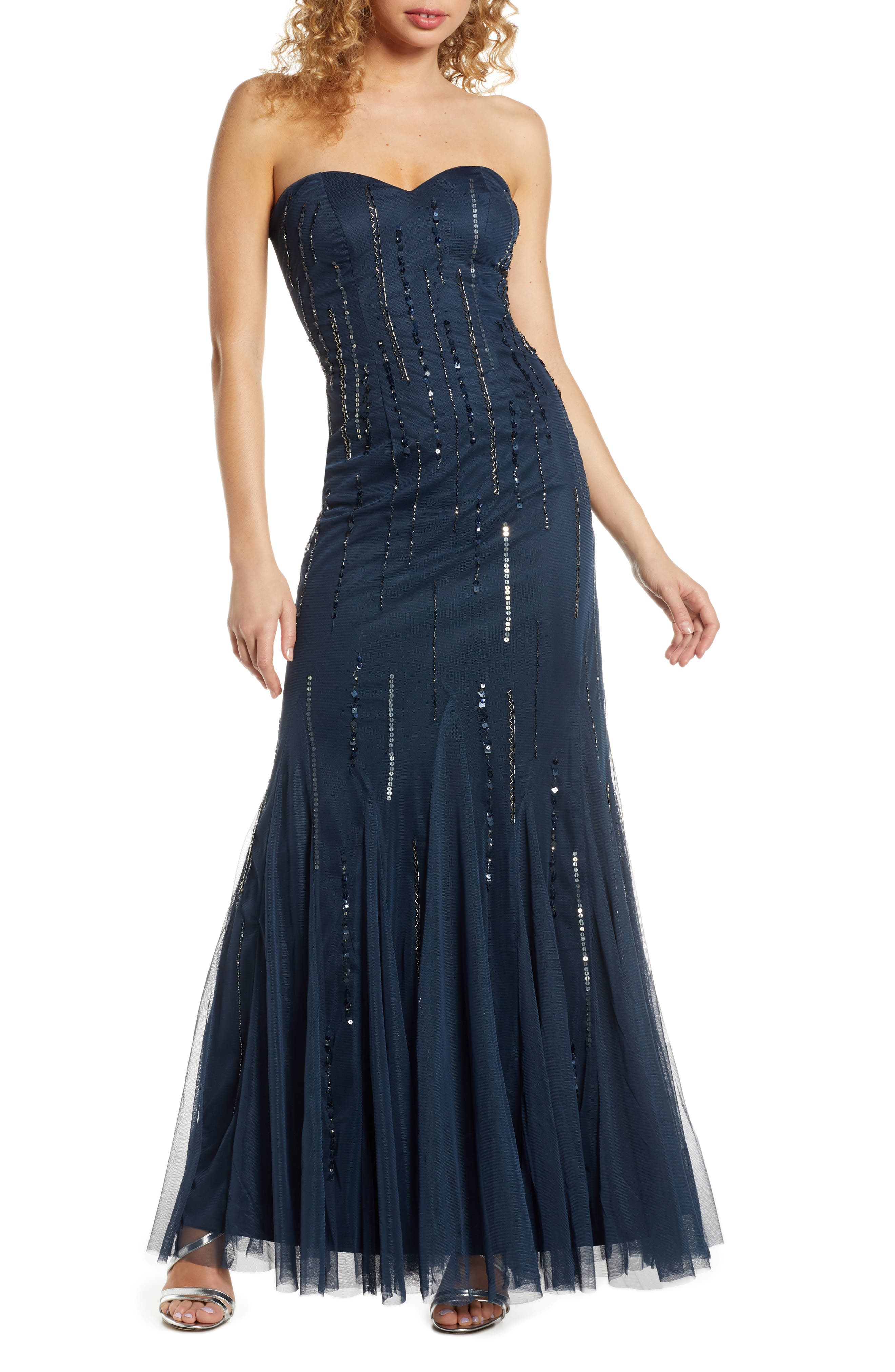Lace & Beads Rima Strapless Godet Gown, Blue