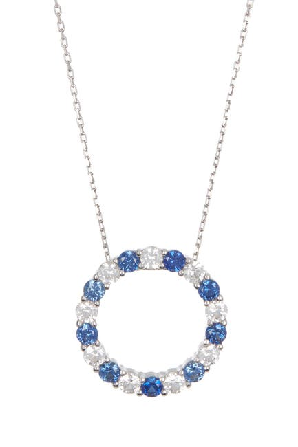 Image of Suzy Levian Sterling Silver Sapphire Circle Pendant Necklace