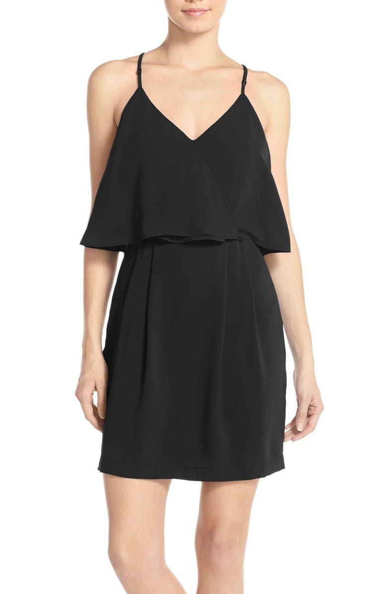 ADELYN RAE Ruffle Crepe Popover Dress, Main, color, 001