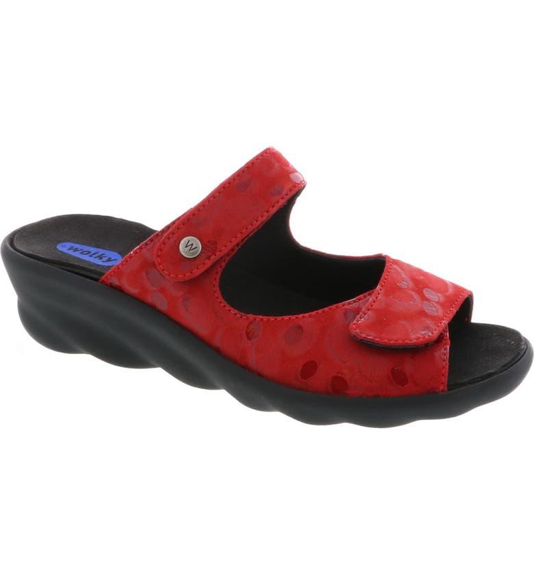 WOLKY Bolena Slide Sandal, Main, color, RED CIRCLE PRINT