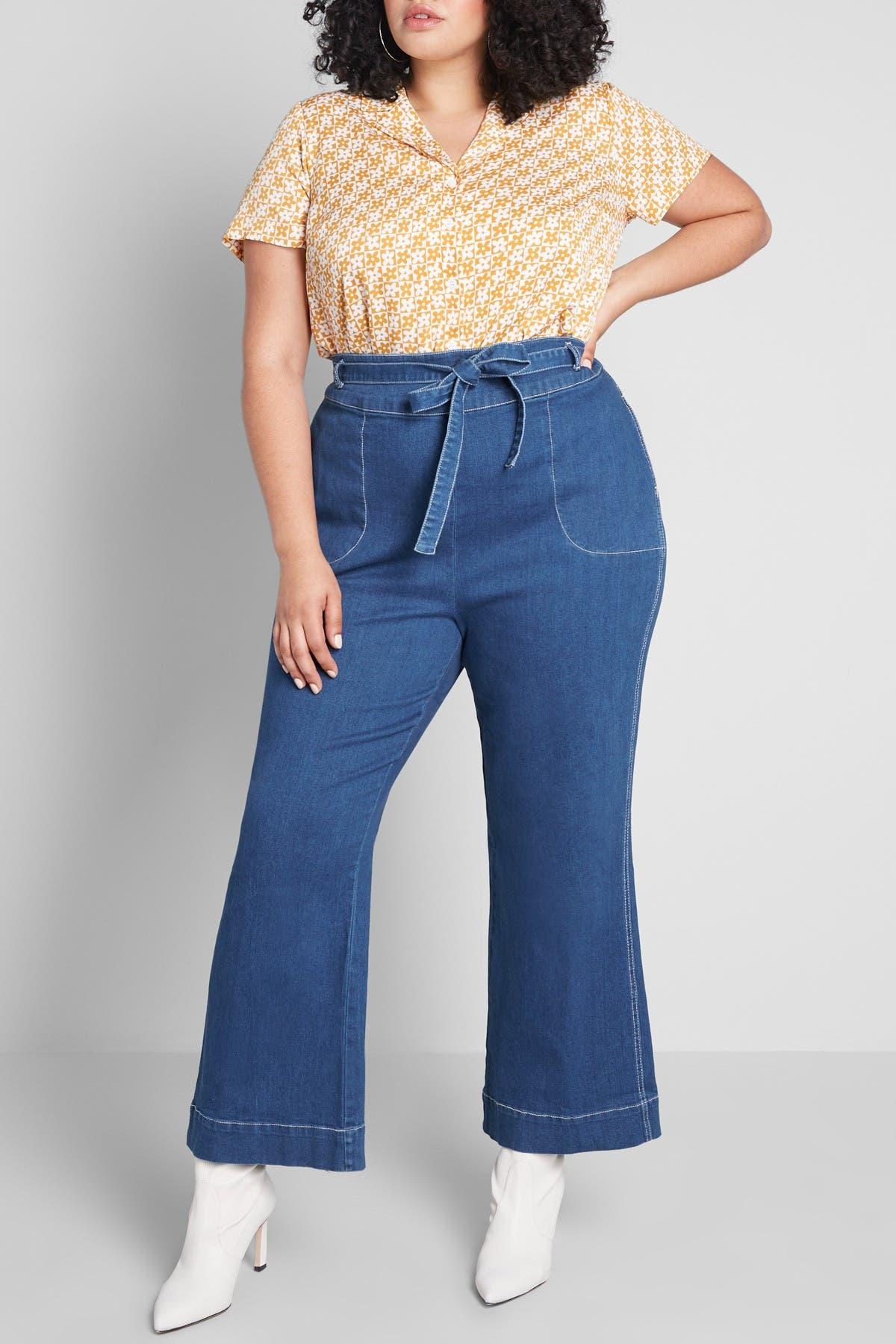 60s Pants, Jeans, Hippie, Flares, Jumpsuits MODCLOTH Denim Daydream Wide Leg Jeans Size 28 - Blue at Nordstrom Rack $28.97 AT vintagedancer.com