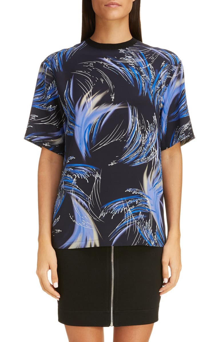 GIVENCHY Wave Print Silk Crepe Tee, Main, color, BLACK/ BLUE