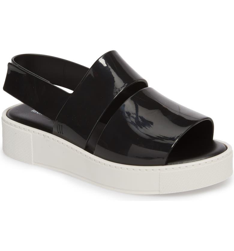 MELISSA Soho Platform Sandal, Main, color, BLACK/ WHITE