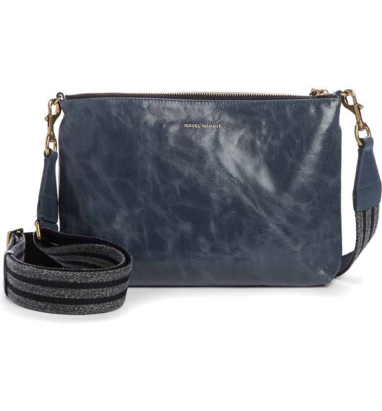 ISABEL MARANT Nessah Calfskin Leather Crossbody Bag, Main, color, GREYISH BLUE