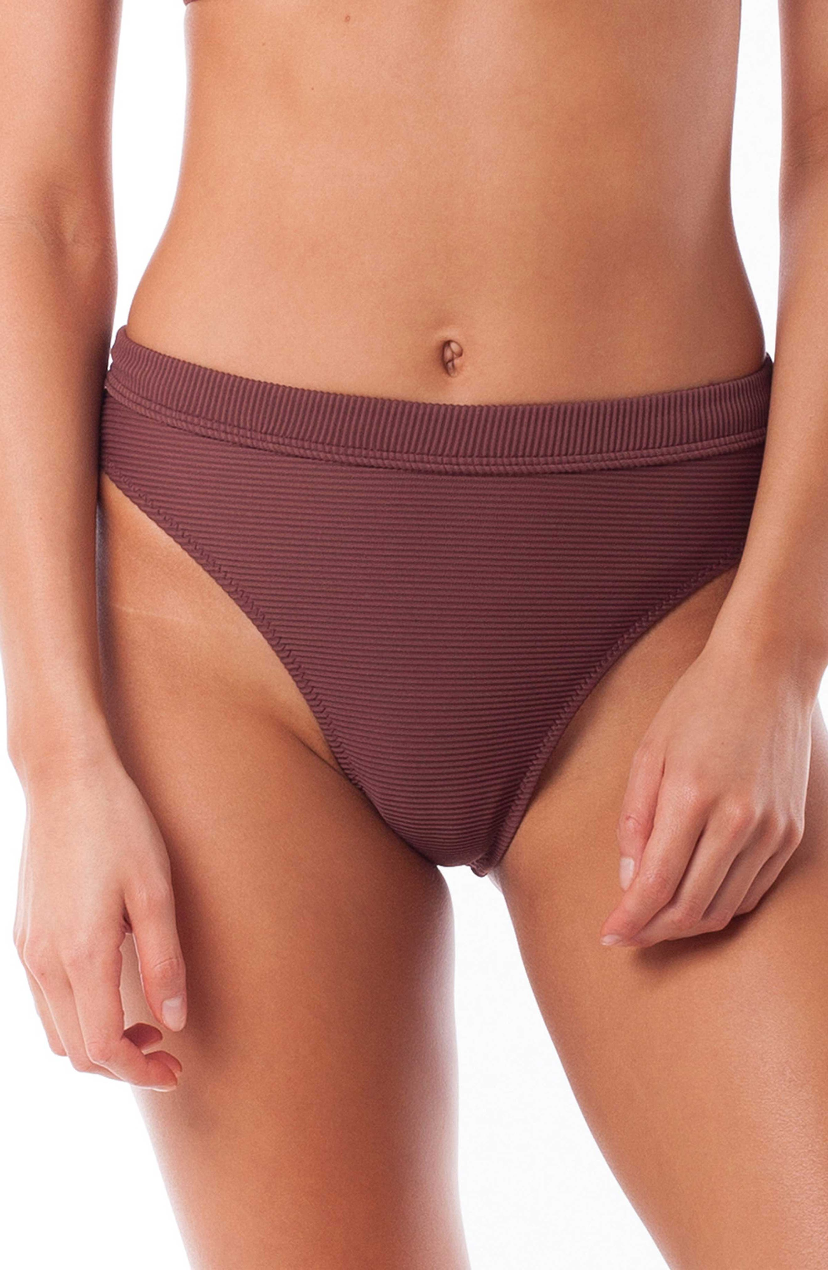 Rhythm Palm Springs Xanadu Bikini Bottoms, Burgundy