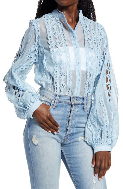 Endless Rose LACE TRIM BUTTON-UP BLOUSE