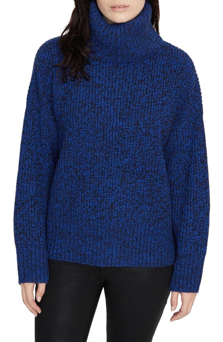 SANCTUARY Roll Neck Sweater, Main, color, WEB BLUE-BLACK