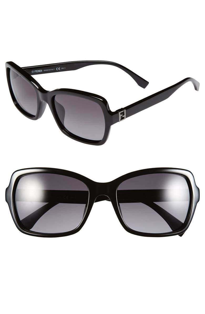 FENDI 55mm Retro Sunglasses, Main, color, 001