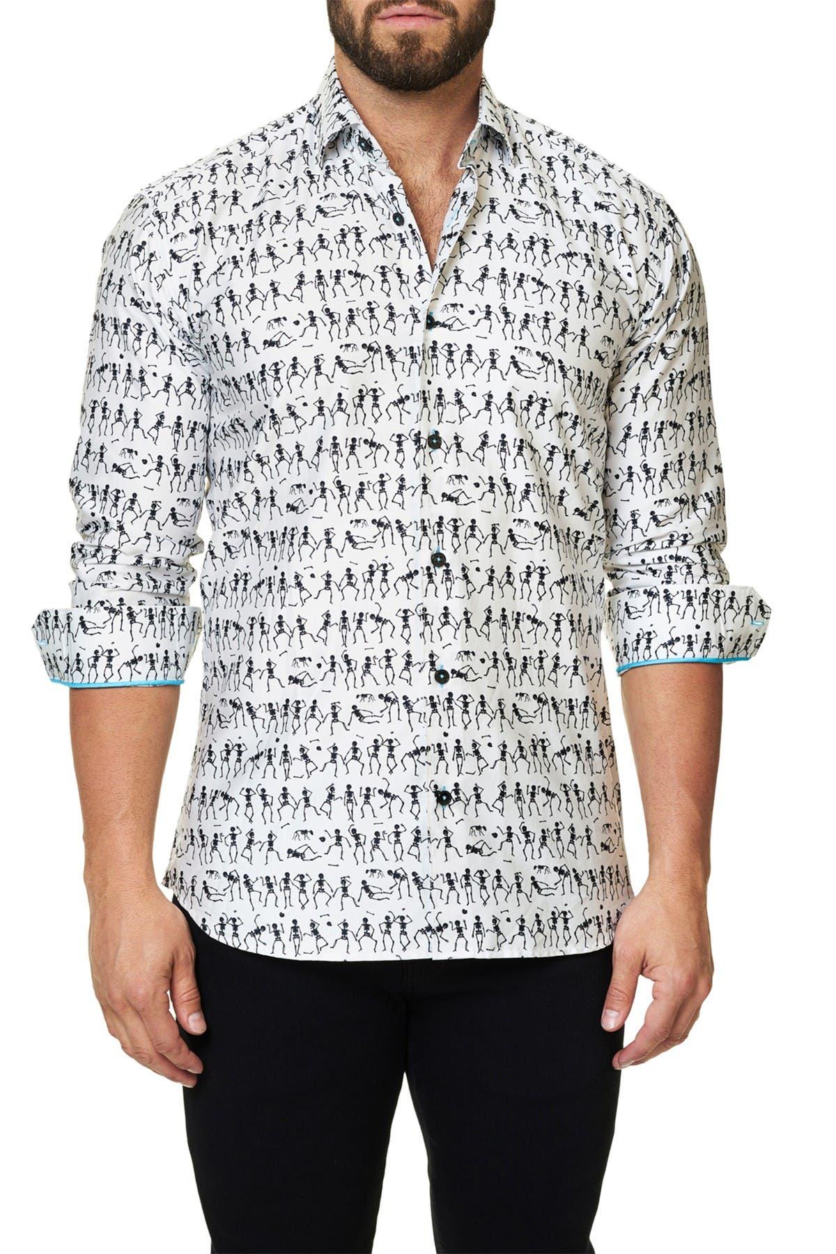 Image of Maceoo Luxor Funky Skeleton Trim Fit Sport Shirt